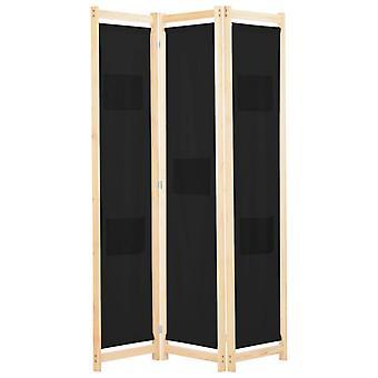 vidaXL 3-osainen huoneenjakaja musta 120 x 170 x 4 cm kangas