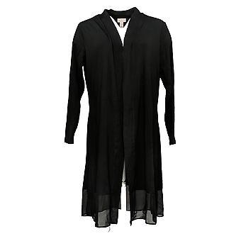 LOGO by Lori Goldstein Women's Sweater Petite Duster Black A382270