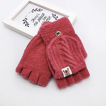 Kids Men Women Winter Keep Warm Sweet Knitted Convertible Flip-top Fingerless