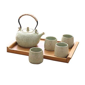 6Pcs Classic Porcelain Green Tea Cups Set With Wooden Stand