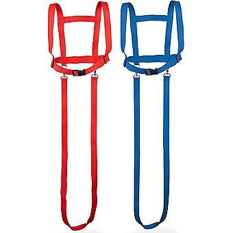 Pferdegeschirr für Kinder von 3 bis 12 Jahren - Pferdeleine zum Spielen für Mädchen Jungen in rot und