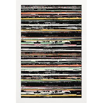 JUNIQE Print - Skivor - Musikaffisch i Färgglada