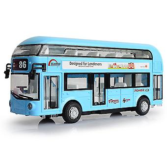New Alloy Double-decker Tour Bus Air-conditioned City Bus Model Pull Back Sound And Light ES11476