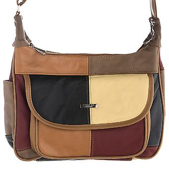 Ladies Multicolour Patch Leather Handbag with Dual Zips