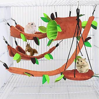 5pcs Hamster Hammock , Small Animal Bed, Forest Pattern Cage Toy