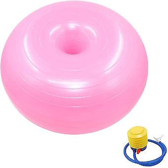 Donut Exercise Stability Ball For Yoga, Exercise Ball 55cm With Pump(Pink)