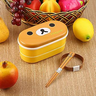 Lovely High Heat Resistance Double Layers Chopsticks Plastic Bento Lunch Box