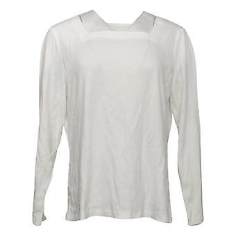 Denim & Co. Dames Top Essentials Vierkante Hals Lange Mouw Wit A393176