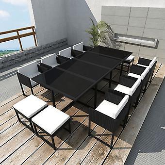 vidaXL 13 أجهزة الكمبيوتر الشخصية. حديقة مجموعة الطعام مع وسائد بولي راتان الأسود