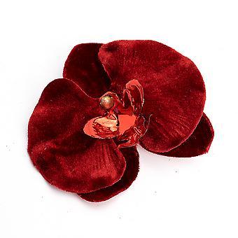 Röd sammet jul orkidé klipp på dekoration