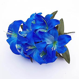2pcs Artificial Lily 10 Heads Fake Lily Artificial Flower Wedding Party Decor(Sea Blue)