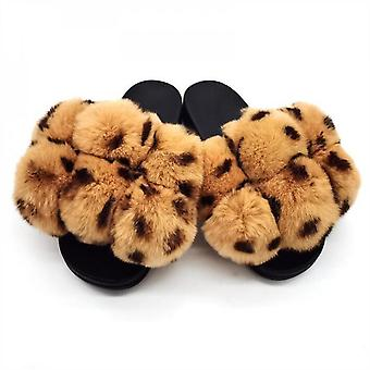 Evago Christmas Gift Women's Fur Slides Furry Sandals Flat Slippers Open Toe Shoes Indoor Outdoor Anti-slip Sole Real Fox Hair Soft Pompom