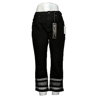 DG2 by Diane Gilman Women's Petite Jeans Stretch Cropped Black 743553