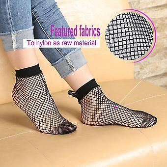 Sexy ženy letné rybie siete krátke ponožky unikátne čipky Bowknot dekorácie ponožky