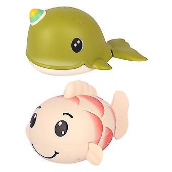 2pcs Baby Bath Toy Swimming Whale Carp Shape Wind Up Bathtub Pool Toys For Kids