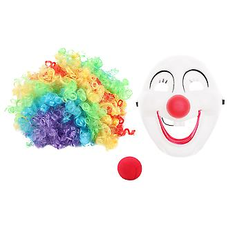 1 Set/3pcs Clown Dress Up Clown Smiling Plastic Funny Mask Wig Sponge Nose Kit