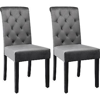 fløyels spisestoler sett med 2 med høy rygg