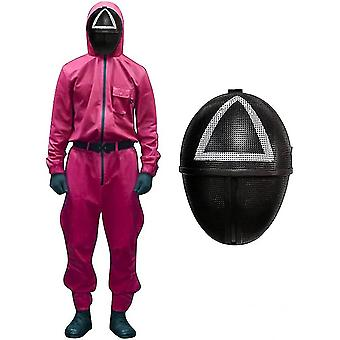 Unisex Squid Game Costume Cosplay Jumpsuit + Squid Game Mask Halloween Cosplay Outfit Gifts