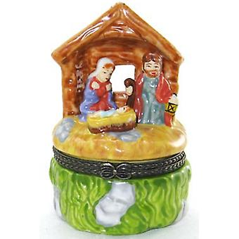 Christmas Nativity Scene Stable Trinket Box