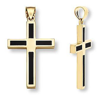 14K Gold Onyx Cross Pendant