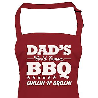 Dads World Famous BBQ Apron, Birthday Fathers Day Barbecue Smoker