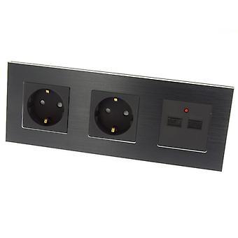 I LumoS Luxury Black Brushed Aluminium Frame Double German EU 16A Schuko + 2.1A USB Triple Socket
