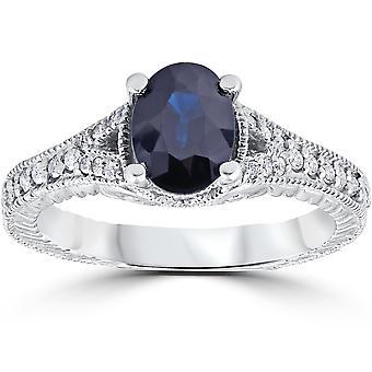 2ct Vintage Diamond Black Sapphire Engagement Ring 14K White Gold