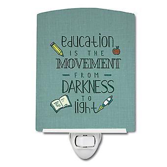 Carolines Treasures  BB5472CNL Education is Movement Teacher Ceramic Night Light