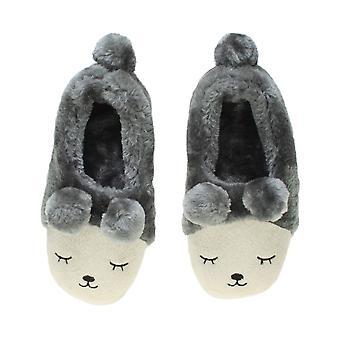 Bordée de fourrure de Ajvani womens hiver pom pom nouveauté ours animaux visage pantoufles maison chaussures
