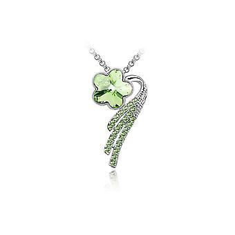 Naisten Flower Petal riipus kaulakoru korut vihreä kristalli kivi