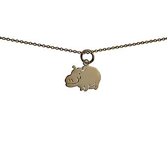 9ct Gold 16x11mm Hippo Pendant with a cable Chain 16 inches Only Suitable for Children