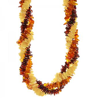 Shipton and Co Ladies Shipton And Co Silver And Twisted Multi Coloured Amber Chips Beads 20 Inches Long BKC017AB