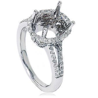 ПРОТИВ 1 / 2ct проложить Halo овальный участия Сплит хвостовик кольцо настройки 14K Белое золото