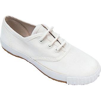 Mirak chicas Morris cordones textiles Plimsoll zapatillas zapato blanco (Lge)