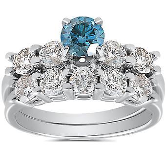 2 1 / 2ct bleu & blanc diamant bague de fiançailles Set 14K or blanc