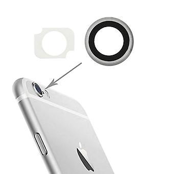 Vidrio de cámara para Apple iPhone 6 cámara lente cámara de cristal + marco de plata