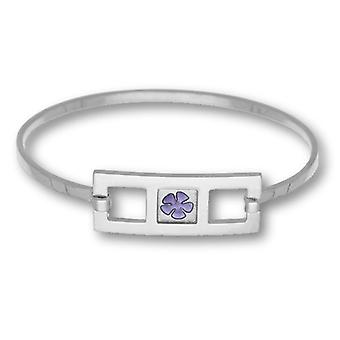 Sterling Silver Traditional Scottish Pale Violet Enamel Carousel Hand Crafted Bangle