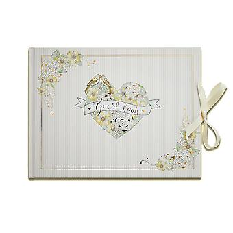 Beautiful Wedding Guest Book Floral Birds Gold Foiling