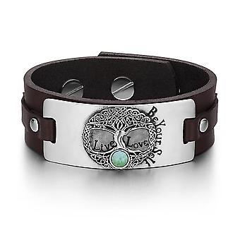 Baum des Lebens Live Love werden Ihre selbst keltische Amulett grüne Quarz Edelstein braun Lederarmband