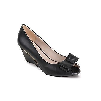 Ladies Peep Toe Pewter Black Smart Heel Bow Accent Women's Wedges Shoes