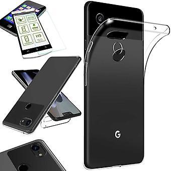 Für Google Pixel 3 XL Silikoncase TPU Transparent + 0,26 H9 Glas Tasche Hülle Schutz Cover