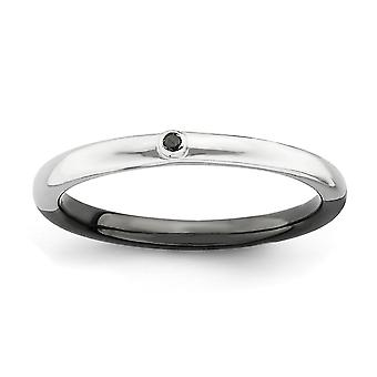 2,25 mm 925 sterling silver bezel omkeerbare rhodium-plated ruthenium plating stapelbare expressies gepolijst half wit B