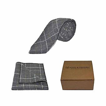 Erfgoed Check houtskool grijs Tie & zak vierkante Set | Boxed