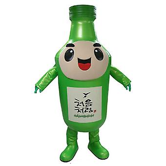 mascot SPOTSOUND of bottle green, giant and smiling