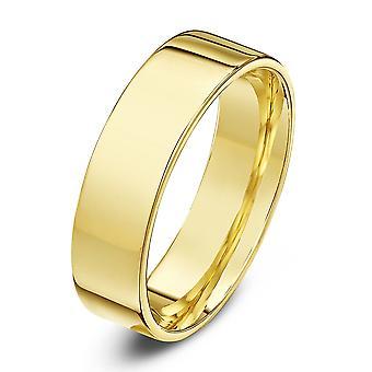 Stjärnan vigselringar 18ct gult guld ljus platt domstolen form 5mm vigselring