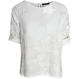 Latte Short Sleeve Printed Linen Blouse