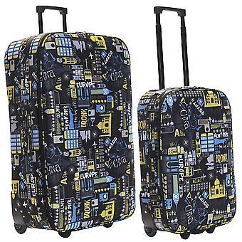 Slimbridge Algarve Set de 2 valises Super légers, noir/bleu