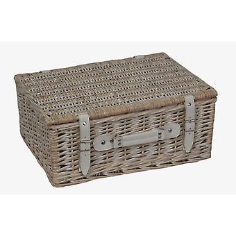 35cm White Wash Empty Picnic Basket