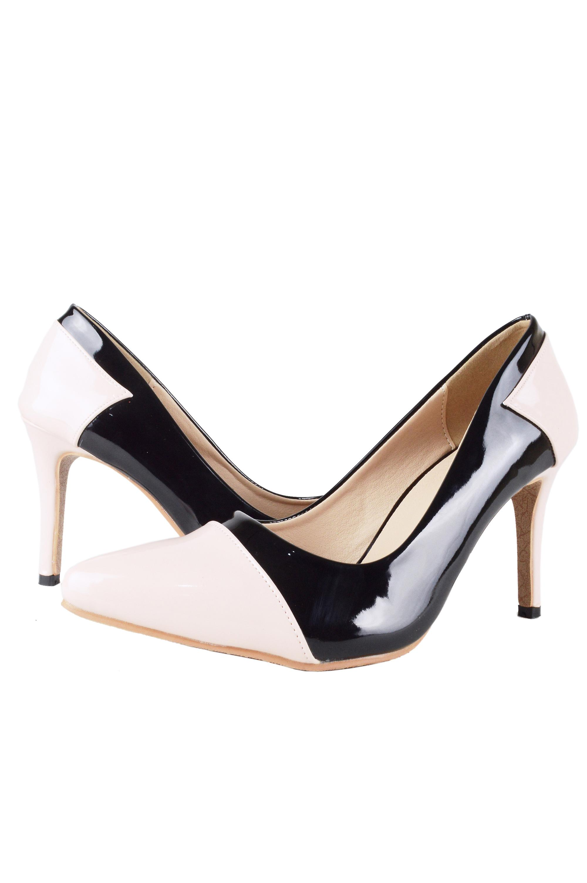 Lovemystyle Black And Nude Patent Court Shoe Heels
