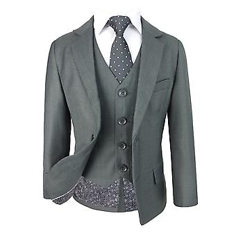 Boys Regular Fit Italian Design Light Grey All in One Suit
